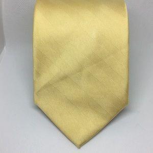 Tommy Hilfiger Silk Solid Yellow Striped Tie